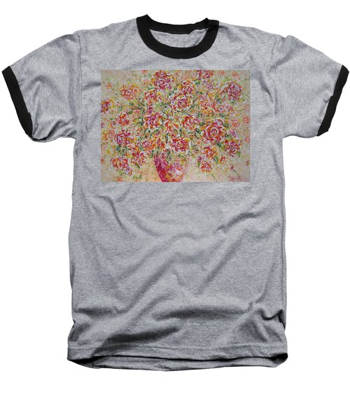 Baseball T-Shirt featuring the painting First Love Flowers by Natalie Holland