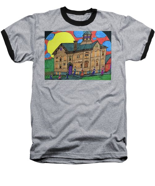 Baseball T-Shirt featuring the drawing First Menominee High School. by Jonathon Hansen
