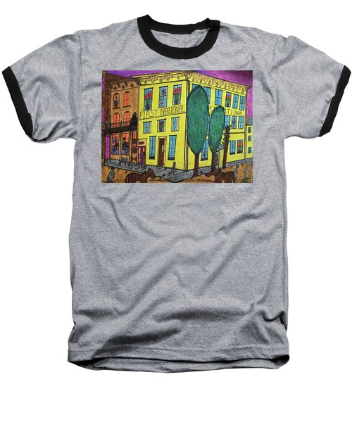 Baseball T-Shirt featuring the painting First National Hotel. Historic Menominee Art. by Jonathon Hansen