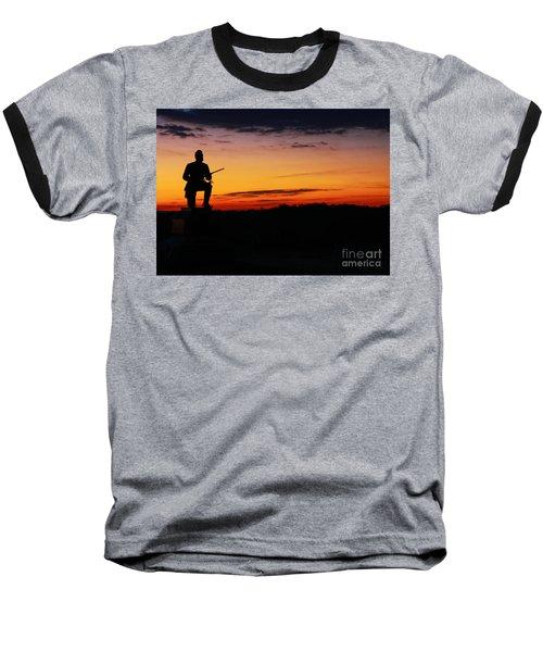 First Pennsylvania Cavalry Sunrise Gettysburg Baseball T-Shirt by Randy Steele