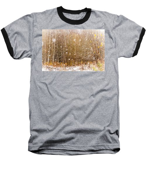 First Snow. Snow Flakes I Baseball T-Shirt by Jenny Rainbow