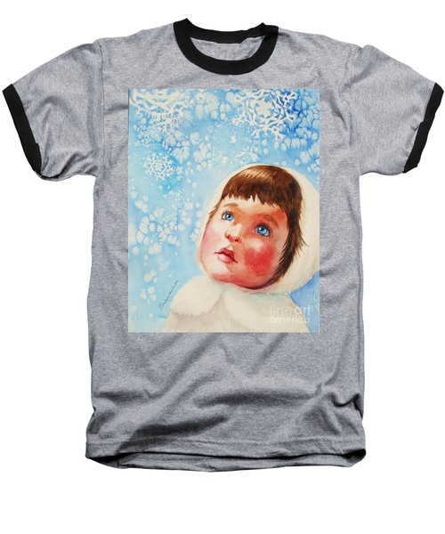Baseball T-Shirt featuring the painting First Snowfall by Marilyn Jacobson