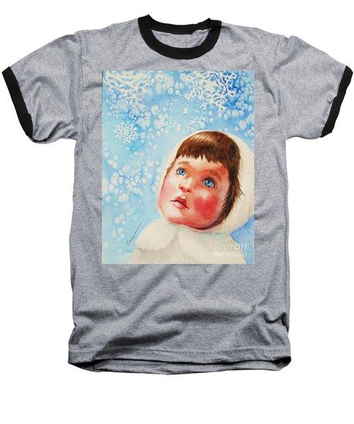 First Snowfall Baseball T-Shirt by Marilyn Jacobson