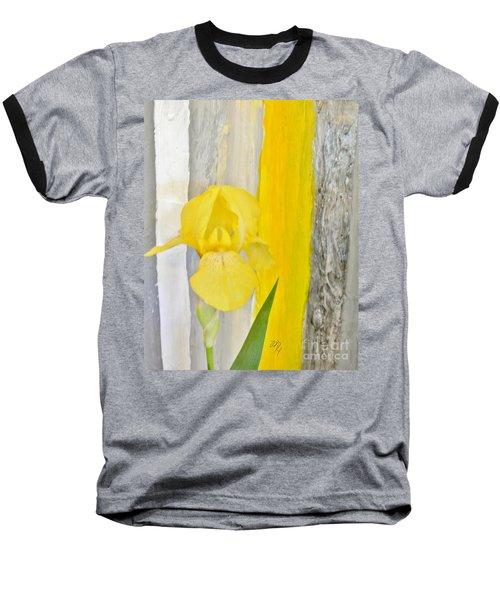 First Yellow Iris Baseball T-Shirt by Marsha Heiken