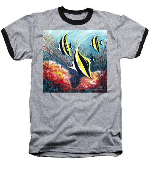 Moorish Idol Fish And Coral Reef Baseball T-Shirt