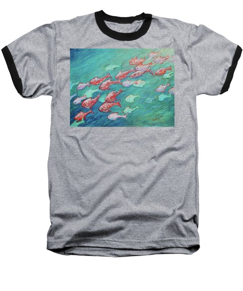Baseball T-Shirt featuring the painting Fish In Abundance by Xueling Zou