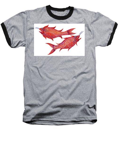 Fish Pisces Baseball T-Shirt by Jane Tattersfield