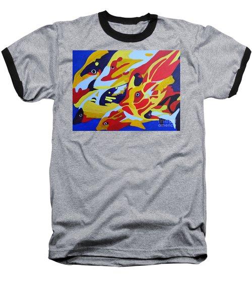 Fish Shoal Abstract 2 Baseball T-Shirt