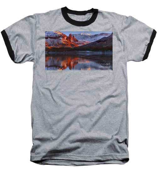 Baseball T-Shirt featuring the photograph Fisher Towers And La Sal Mountains by Adam Jewell