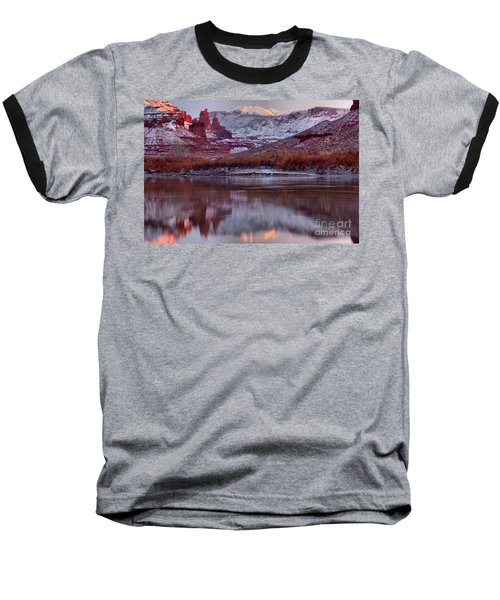 Baseball T-Shirt featuring the photograph Fisher Towers Fading Sunset by Adam Jewell