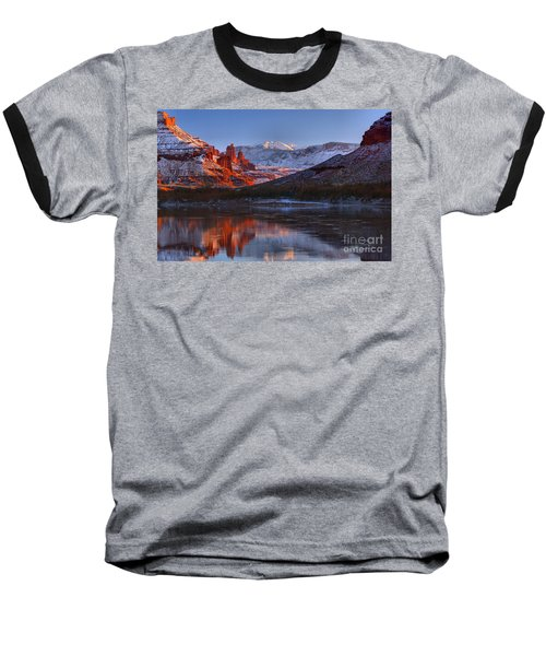 Baseball T-Shirt featuring the photograph Fisher Towers Glowing Reflections by Adam Jewell