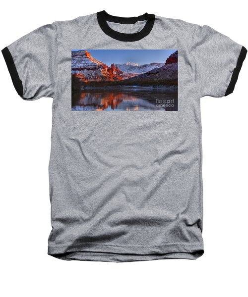 Baseball T-Shirt featuring the photograph Fisher Towers Sunset Glow Panorama by Adam Jewell