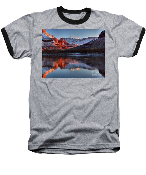 Baseball T-Shirt featuring the photograph Fisher Towers Sunset On The Colorado by Adam Jewell