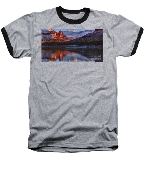 Baseball T-Shirt featuring the photograph Fisher Towers Sunset Reflection Panorama by Adam Jewell