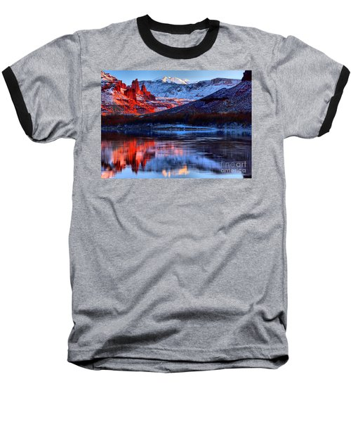 Baseball T-Shirt featuring the photograph Fisher Towers Sunset Winter Landscape by Adam Jewell