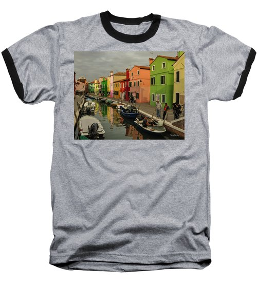 Fisherman At Work In Colorful Burano Baseball T-Shirt