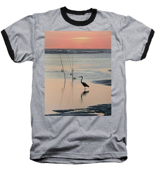 Fisherman Heron Baseball T-Shirt by Deborah Smith