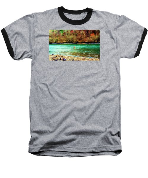 Baseball T-Shirt featuring the photograph Fisherman Hot Springs Ar In Oil by Diana Mary Sharpton