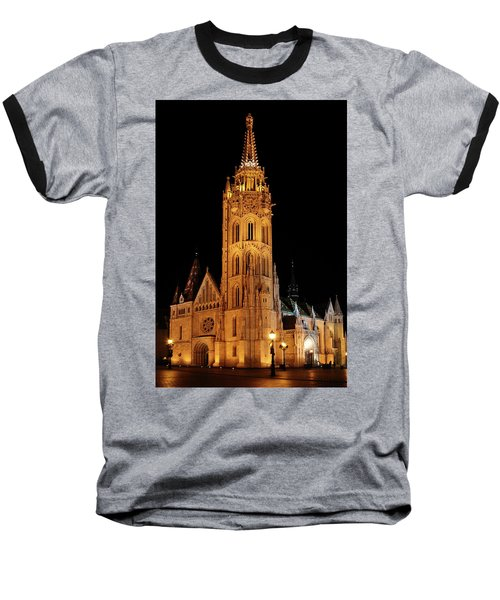 Baseball T-Shirt featuring the digital art  Fishermans Bastion - Budapest by Pat Speirs