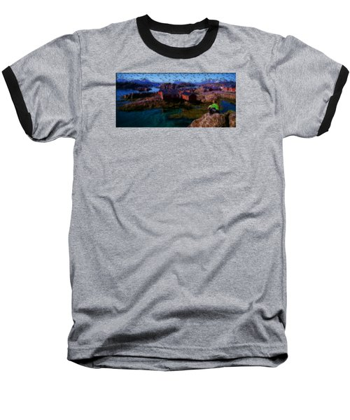 Baseball T-Shirt featuring the painting Fishermen Cabins by Mario Carini