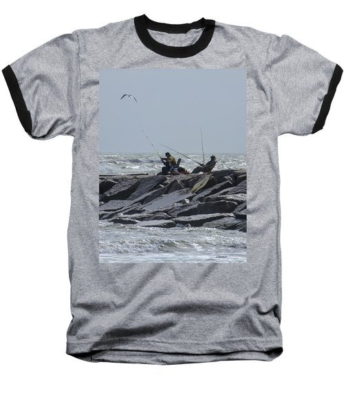 Fishermen With Seagull Baseball T-Shirt
