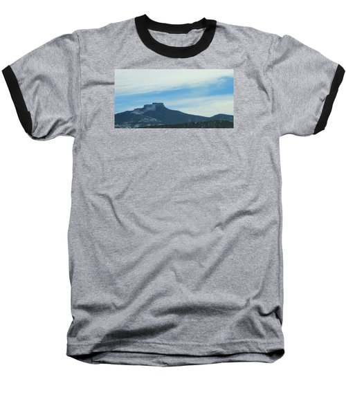 Fishers Peak Raton Mesa In Snow Baseball T-Shirt by Christopher Kirby