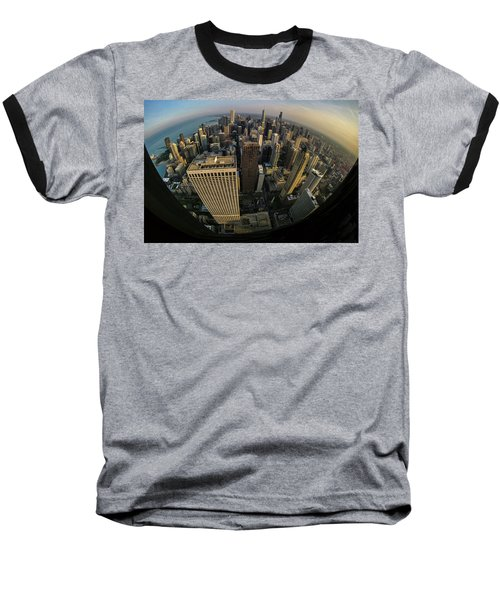 Fisheye View Of Dowtown Chicago From Above  Baseball T-Shirt