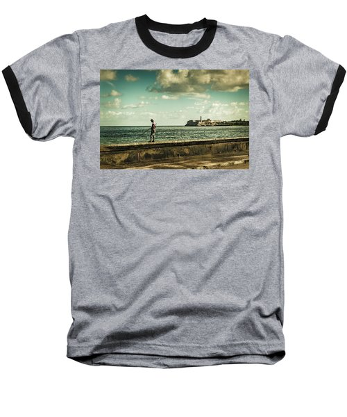 Fishing Along The Malecon Baseball T-Shirt