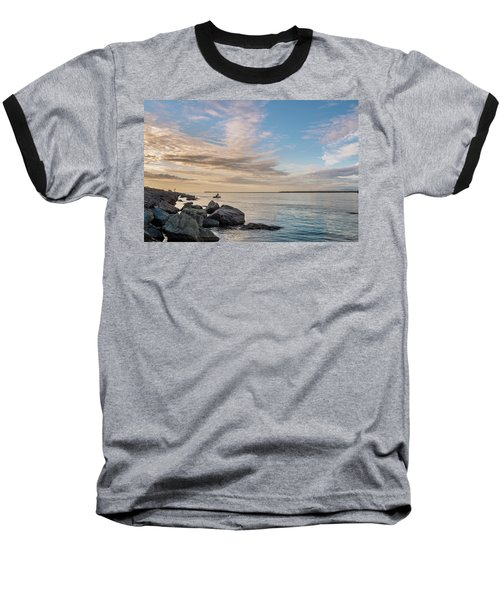 Fishing Along The South Jetty Baseball T-Shirt by Greg Nyquist