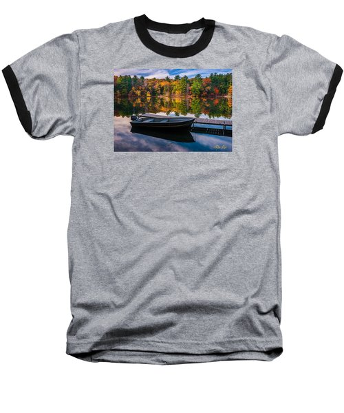 Baseball T-Shirt featuring the photograph Fishing Boat On Mirror Lake by Rikk Flohr