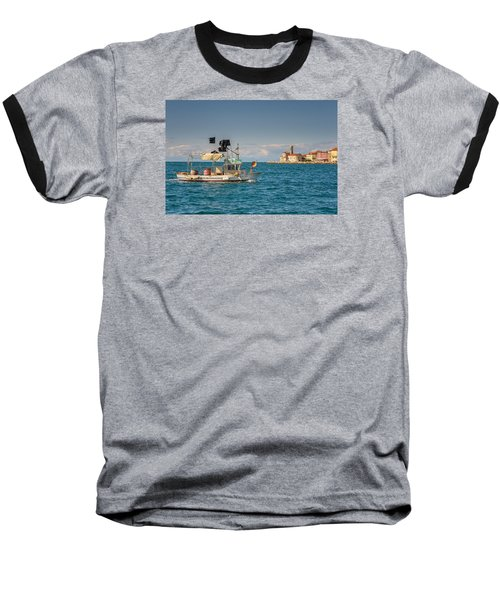 Fishing Boat Baseball T-Shirt by Robert Krajnc