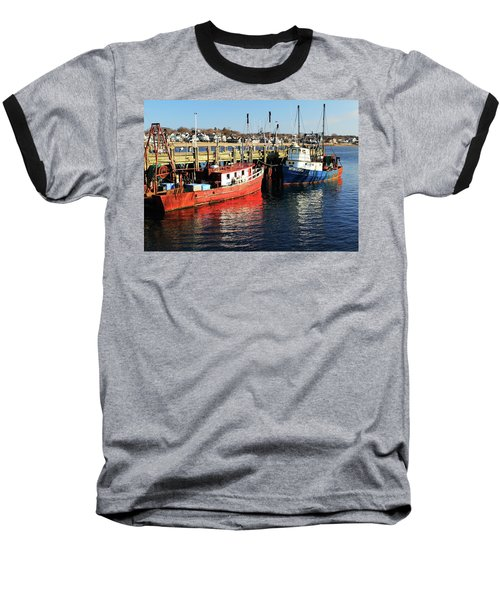 Baseball T-Shirt featuring the photograph Fishing Boats At Provincetown Wharf by Roupen  Baker