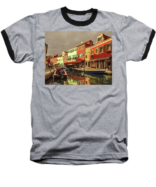 Fishing Boats In Colorful Burano Baseball T-Shirt