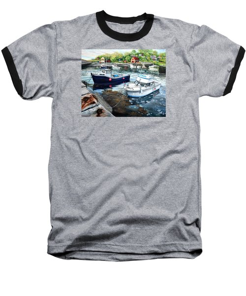 Fishing Boats In Lanes Cove Gloucester Ma Baseball T-Shirt by Eileen Patten Oliver