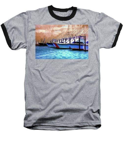 Baseball T-Shirt featuring the painting Fishing Boats Of The Outer Banks Ap by Dan Carmichael