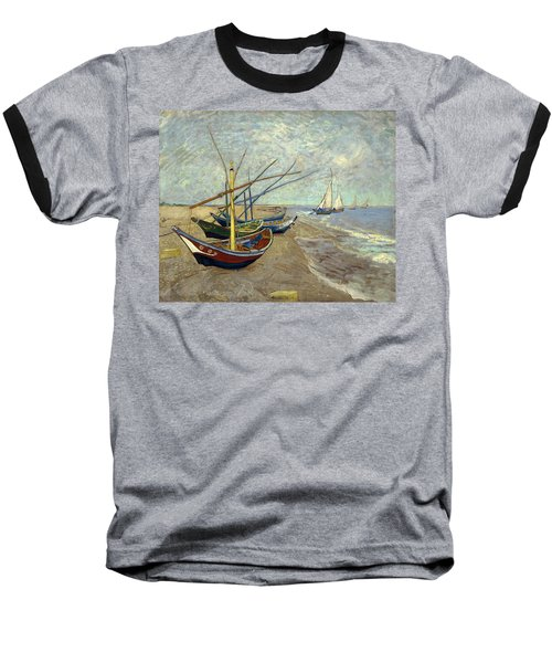 Baseball T-Shirt featuring the painting Fishing Boats On The Beach by Van Gogh