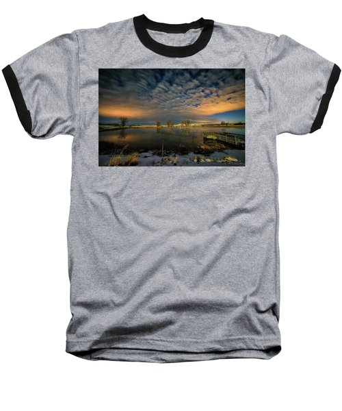 Fishing Hole At Night Baseball T-Shirt by Fiskr Larsen