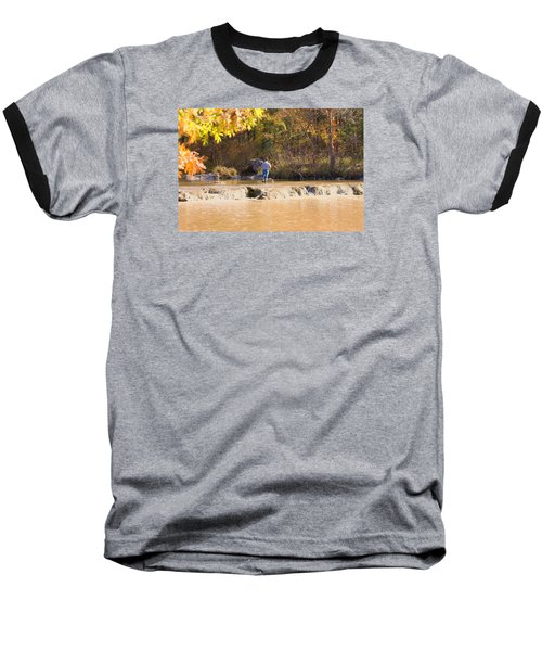 Baseball T-Shirt featuring the photograph Fishing In Fall by Sheila Brown