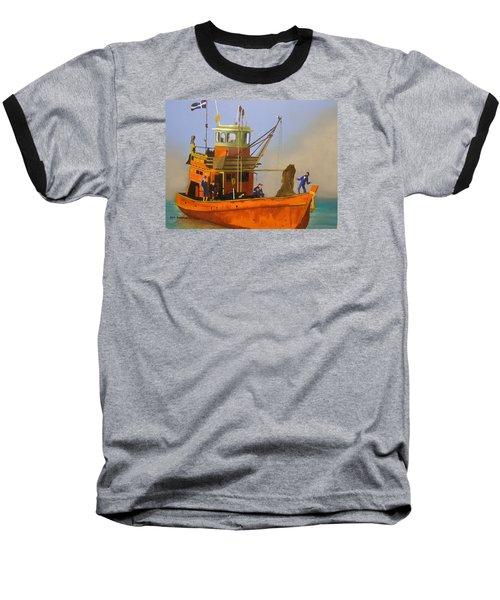Fishing In Orange Baseball T-Shirt
