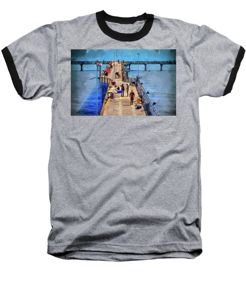 Fishing Off Galvaston Pier Baseball T-Shirt by Cedric Hampton