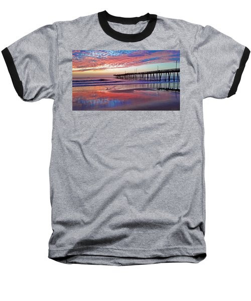 Fishing Pier Sunrise Baseball T-Shirt by Suzanne Stout