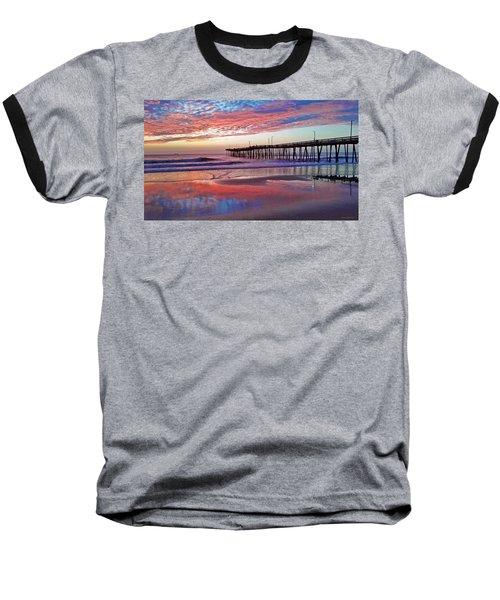 Fishing Pier Sunrise Baseball T-Shirt