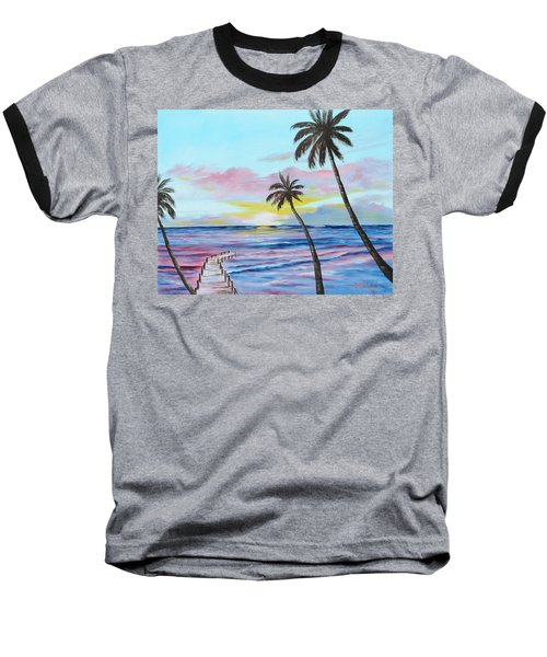 Fishing Pier Sunset Baseball T-Shirt