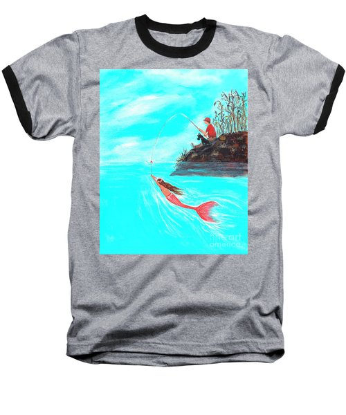 Baseball T-Shirt featuring the painting Fishing Surprise by Leslie Allen