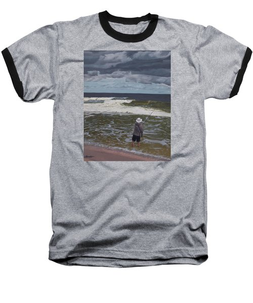 Fishing The Surf In Lavallette, New Jersey Baseball T-Shirt