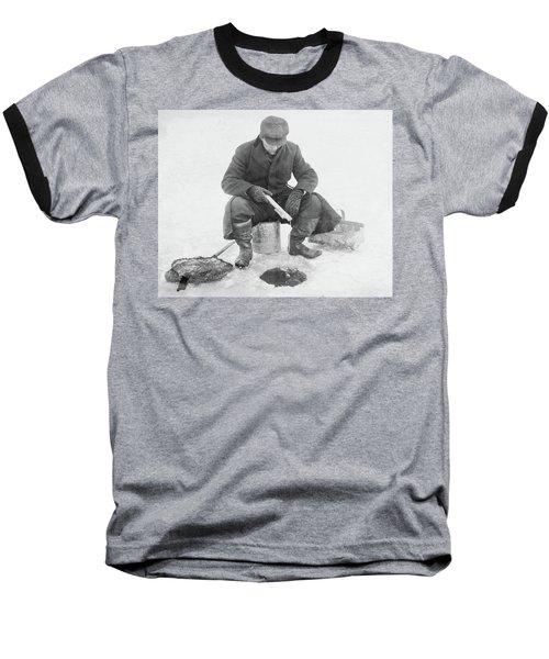 Fishing Through Ice Baseball T-Shirt