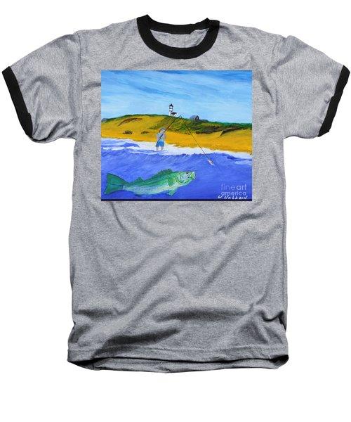 Fishing Under Highland Light Baseball T-Shirt by Bill Hubbard