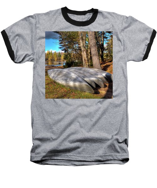 Baseball T-Shirt featuring the photograph Five Canoes At Woodcraft Camp by David Patterson