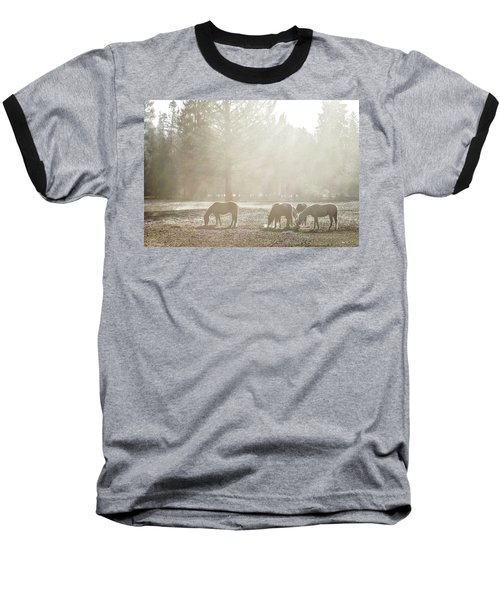 Five Horses In The Mist Baseball T-Shirt