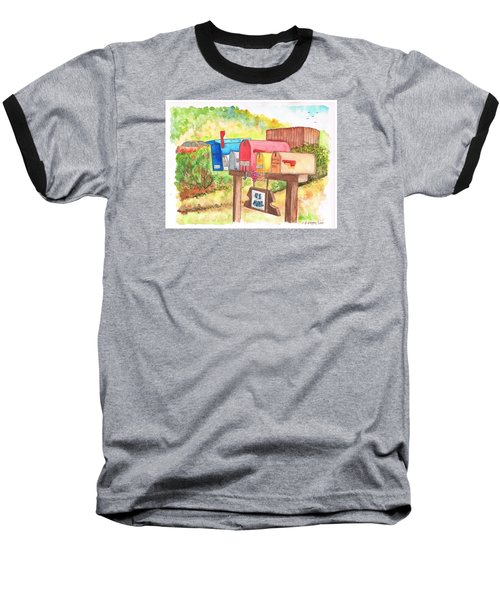 Five Mail Boxes In Route 1, San Simeon, California Baseball T-Shirt by Carlos G Groppa